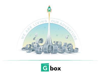 Gbox cartoon video rocket branding illustration