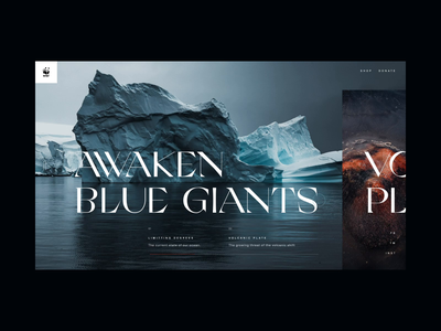 WWF Climate Change Exploration editorial layout web ui design art direction navy grandslang volcano wwf environment season dark ui iceberg ocean climate change