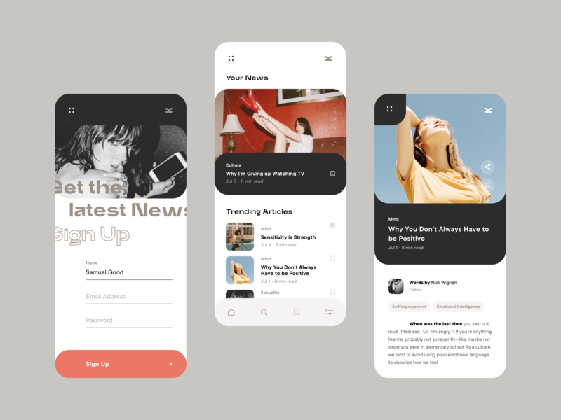 Daily UI 001 / Sign Up Screen retro branding digital brutalism feminism minimalist white clean sign up signup news app ui
