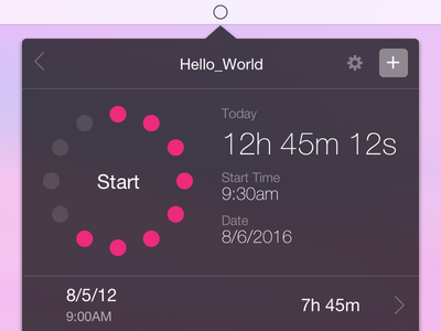 Time Tracker concept desktop time app menu design