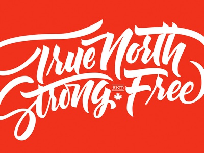 True North Strong and Free design type typography canada vector lettering hand lettering brush lettering canada day