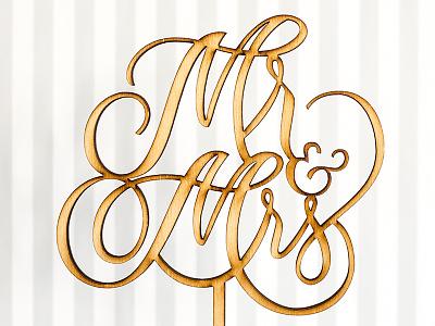 Honey & Crisp cake toppers wood natural lasercut weddings lettering