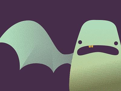 The Creature creative brain time cbt halftone monster creature 3 color illustration