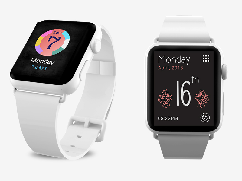 7 Days. Exploring the Apple Watch interface apple watch user interface pastel illustration ios icon design graphics
