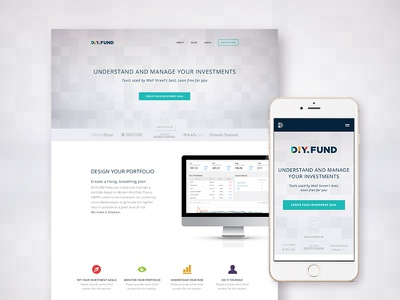 DIY.FUND Responsive Website app webapp finance startup clean graphic design webdesign website responsive