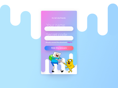 Adventure Time Sign Up sign up ui android app sign up ios sign up form adventure time 001 daily ui