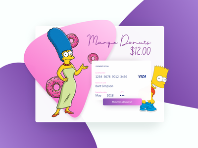 Marge Donuts Credit Card Checkout color ui donut shop marge simpson bart simpson ux interface credit card credit card checkout simpsons daily ui 002