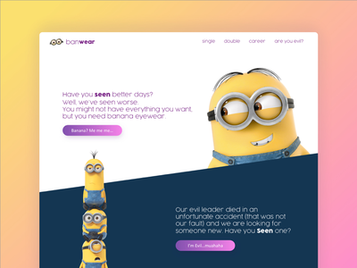 Banana Eyewear Landing Page color despicable me ui sunnies glasses ux interface landing page minions daily ui 003