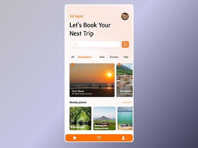 Travelling Home screen ui black orange travel trip app booking screen ux illustrator illustration graphic design design
