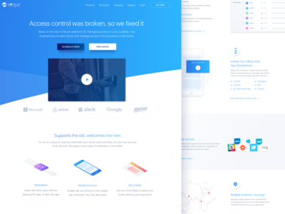 Access management software landing page startup business management web design access security web ux ui interface modern product