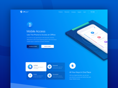 Mobile Access Product Feature Page product modern interface ui ux web security access web design management business startup