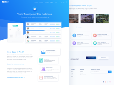 Visitor Management Feature Page product modern interface ui ux web security access web design management business startup