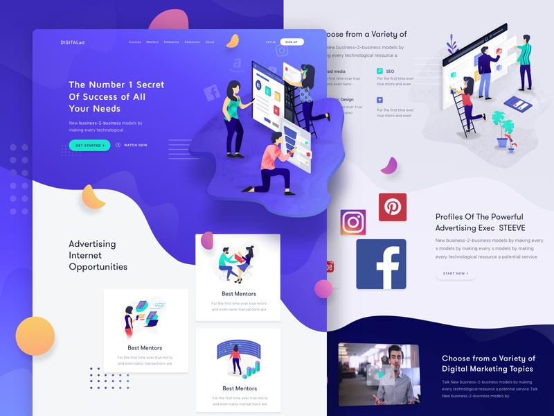 Digital Marketing Learning Courses Website Page WIP ui ux web design web illustration product clean marketing learning startup website business landing modern minimal