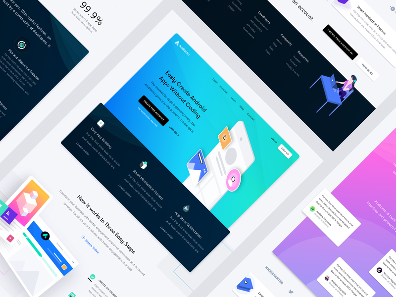Android App Development Platform Landing Page WIP android developement website landing crypto currency app ui ux startup business web design web product design marketing illustration vector branding canabis iot