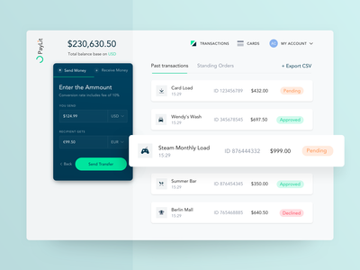 Digital Banking Platform Transactions Screen