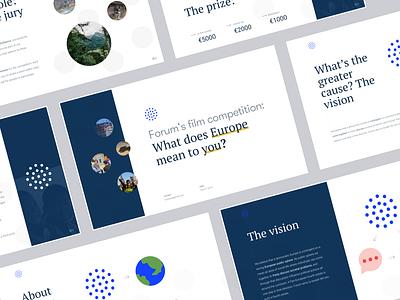 European Forum News Aggregator Pitch Deck interface branding startup product business illustration web design ui website landing iot environment pitchdeck