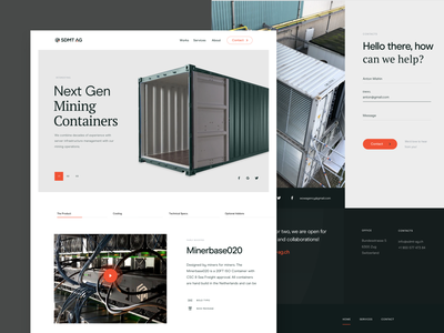Mining containers manufacturer service page business iot trading mining crypto landing website startup product web design web ux ui