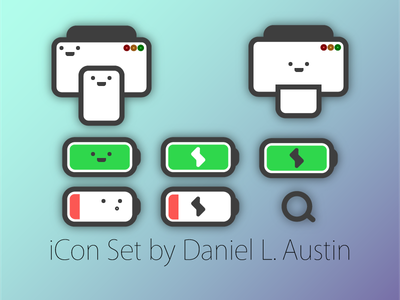 iCon Set (WIP) paper smile red green search lightning charge battery apple printer minimal icon