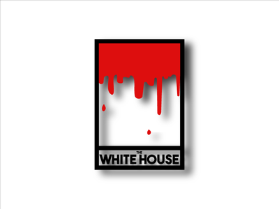 The Bloody White House white black white house house text minimal red blood art politics