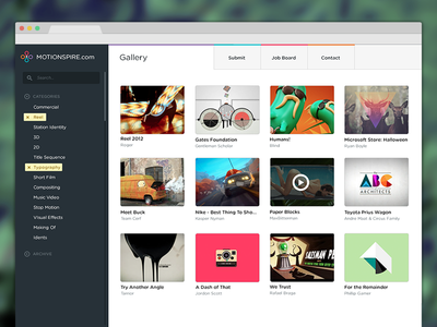 Motionspire Home videos gallery search filters nav
