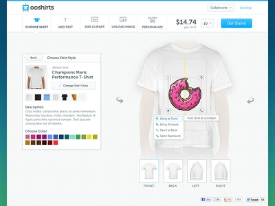 ooShirts Design App designer t-shirts canvas