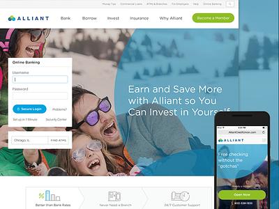 Alliant Credit Union homepage responsive circles credit union bank
