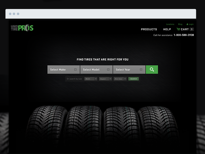 Used Tire Pros dark search ecommerce website homepage tires automotive