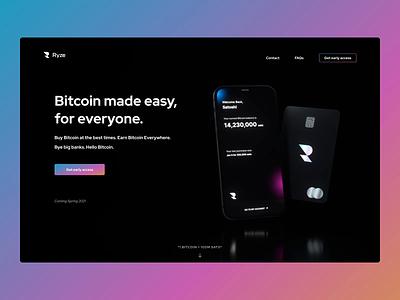 Ryze – Bitcoin Neobank web animation design ui 3d animation 3d