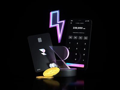 Ryze – 3D Illustration loop animation card banking app bank card banking 3d illustration illustraion 3d app 3d animation animation