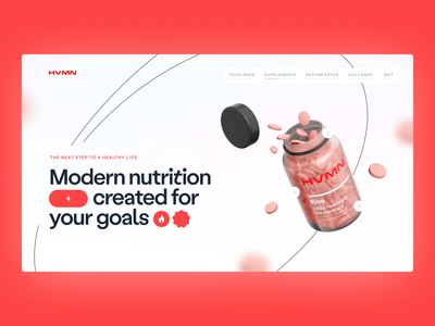HVMN Website Concept first screen ui design ux design health interface hero section ux ui