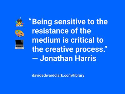 Jonathan Harris Quote emoji typography minimal clean blue quote