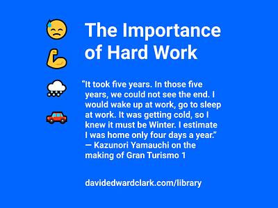 On the Making of GT1 flat blue minimal typoraphy clean emoji game development hard work