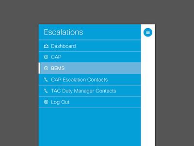 Escalation Management App enterprise type buttons table hamburger icons cisco mobile minimal clean corporate business