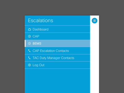 Escalation Management App enterprise type buttons table hamburger icons cisco mobile minimal clean corporate business