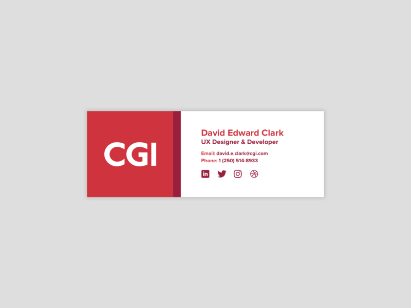 Email Signature for CGI instagram twitter linkedin dribbble email signatures email minimal clean cherry red proxima nova cgi red email signature