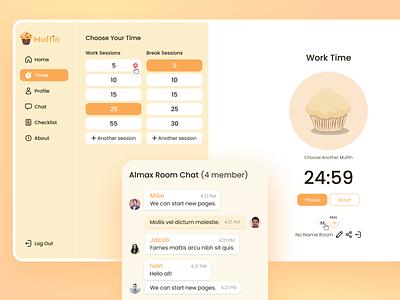 Maffin Productivity Timer Web Application timer ideas z generation millennial dailyui startups mobile ui design ux design research figma ui software work teams timer productivity responsive web app web