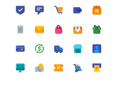 Commerce and shopping flat vector ux art design flat ui website illustration branding icon