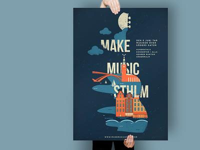 Make Music Sthlm Poster illustration festival stockholm poster music