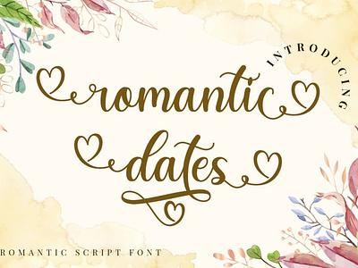 Romantic Dates - a beautiful romantic script font invitation calligraphy quote romantic modern cursive decorative display typeface heart curly cute greeting card love sweet wedding velentine script lettering font