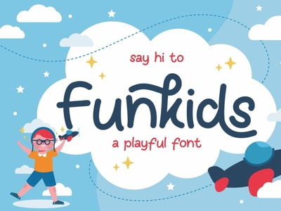 Funkids - playful cute and fun display font creative adorable joy monoline lettering playful young book girl handwriting boy children kids decorative sweet cute fun display typeface font