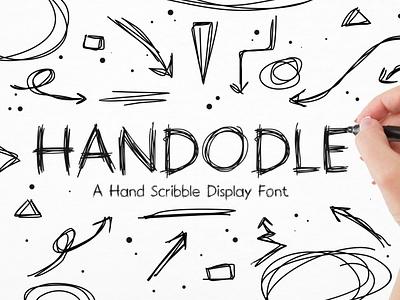 Handodle - Natural & Fun Scribbley Handwritten Display font sketch rustic comic natural line display handdrawn chalk pencil pen fun lettering doodle handwriting written rough scribble logotype typeface font