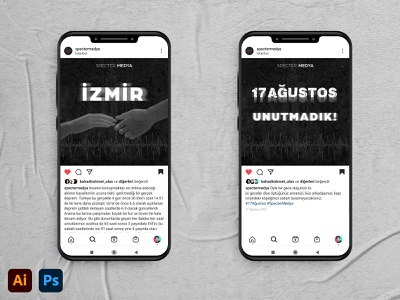 Commemoration of Izmir and Istanbul Earthquakes Post Design photoshop adobe photoshop socialmedia mockup instagram stories instagram post instagram illustrator design adobe illustrator