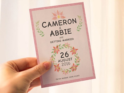 Save the Date - Wedding Invitation psd marriage flower 6x8 5x7 pink save the date invitation wedding