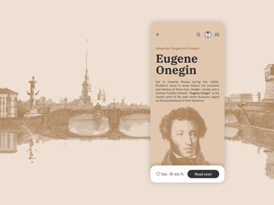 Concept of UI for book reader mobile social app (detailed view) mobile ui android app design ios app design mobile app mobile app design reader app reading app classic book clean art ui flat app typography minimal design