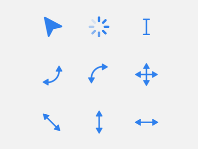 (Yet another) cursor set for your next project drag and drop drag loader rotate resize text flat blue kit set cursors cursor ux clean ui minimal design