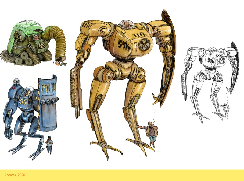 Old robots mechanic robots lineart procreate digital art illustration angryalbatros