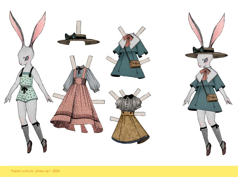 Dress Up cutout vintage rabbit cutout character chracterdesign illustration angryalbatros