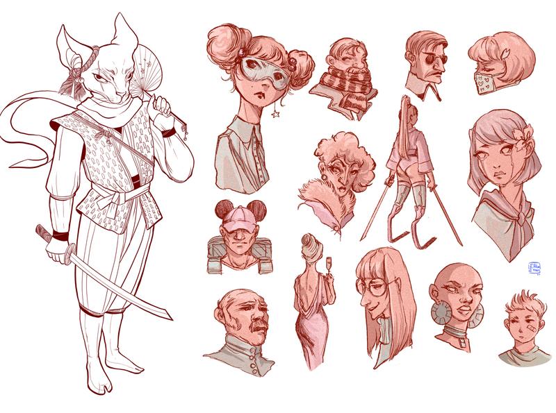 Character design sketches procreate lineart design illustration chracterdesign sketch angryalbatros