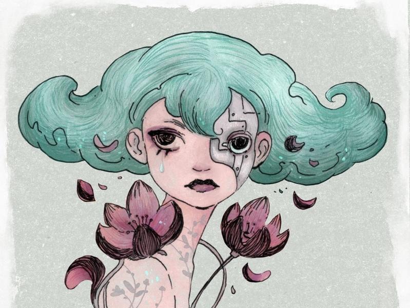 Magnolia portret girl lineart procreate chracterdesign illustration angryalbatros