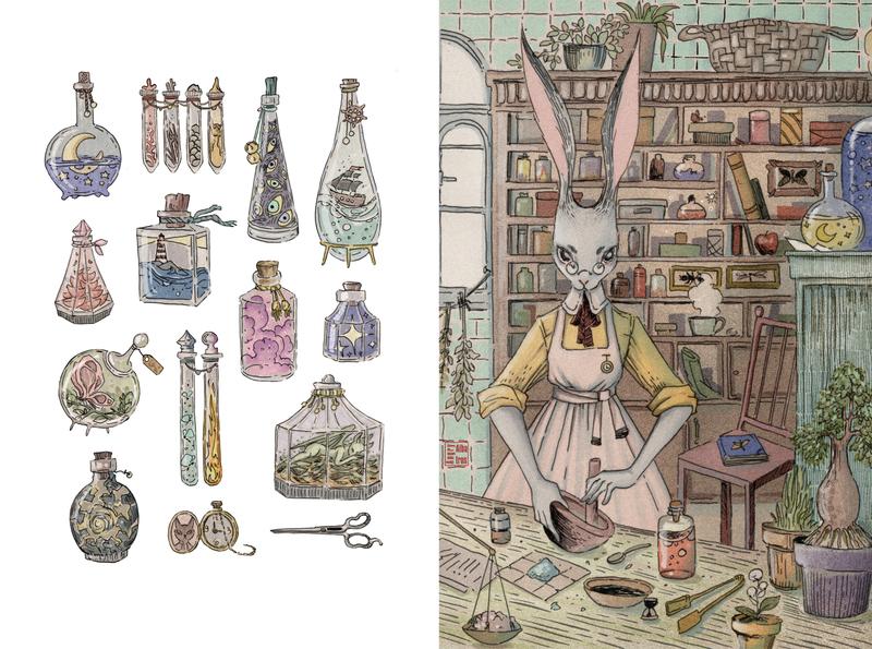 Rabbit laboratory botanic laboratory rabbit character lineart illustration angryalbatros